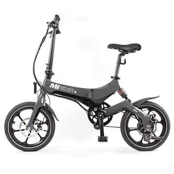 grey folding electric bike side view