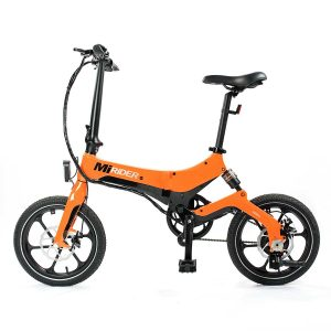 orange electric folding bike side view