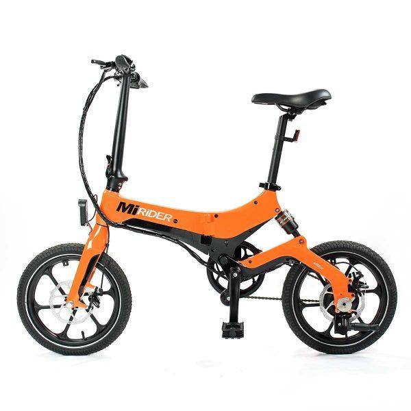 orange electric folding bike side view