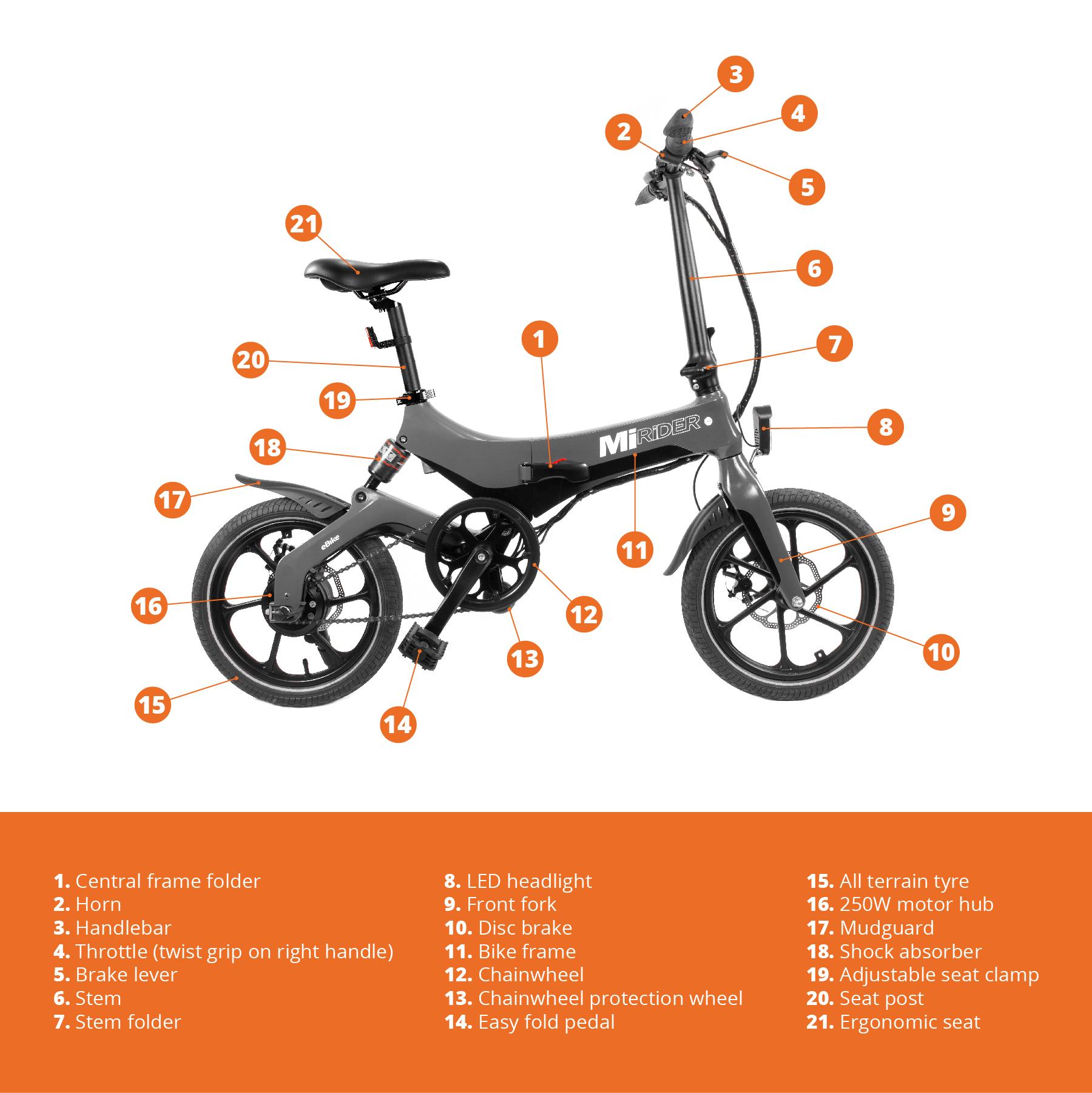 MiRiDER folding electric bike technical drawing