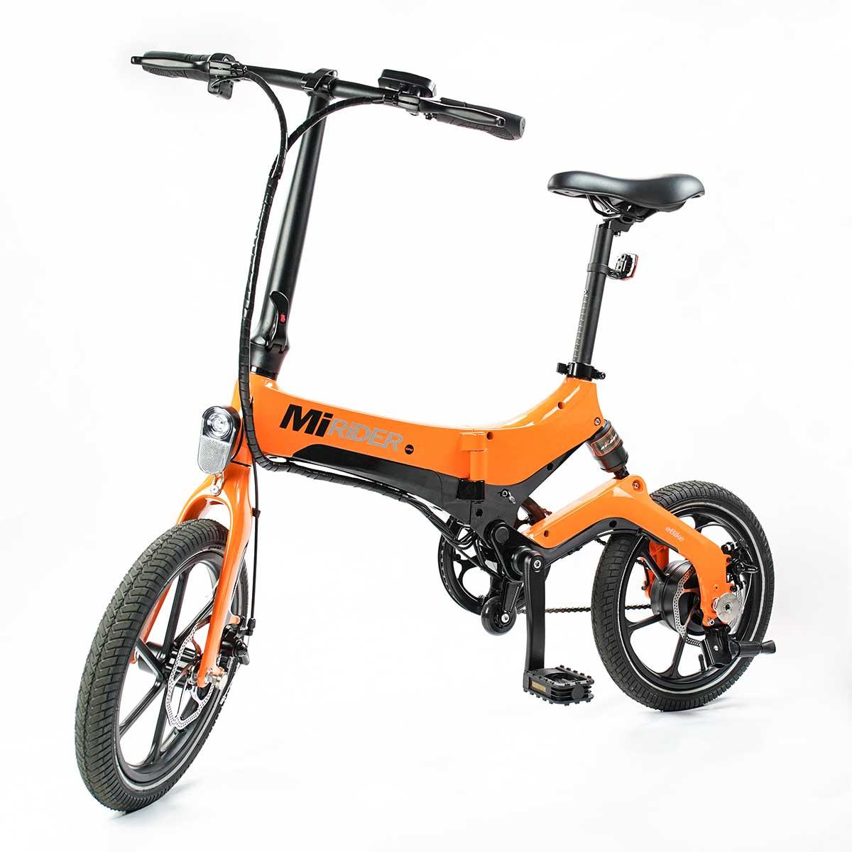 orange electric folding bike